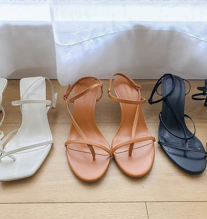 Best high street sandals: Mango's orange strappy heels