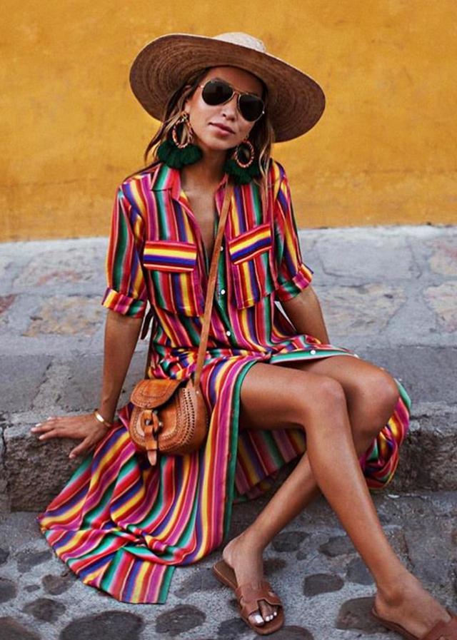 Beachwear trends: Rainbow stripe dress