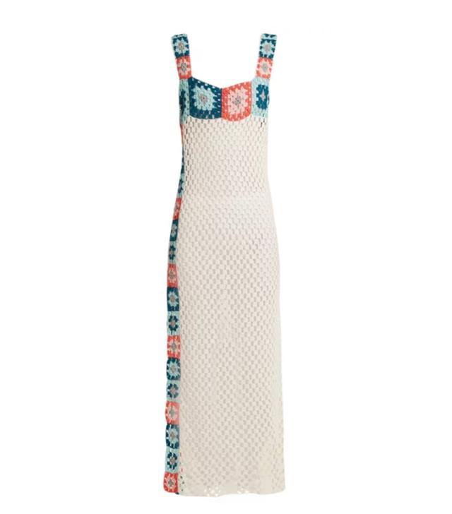 Bisou square-neck crochet-knit cotton maxi dress