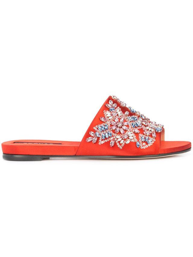 jewel embellished slides