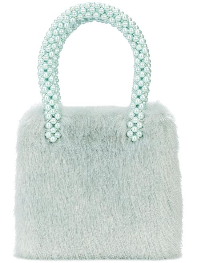 beaded round top handle tote