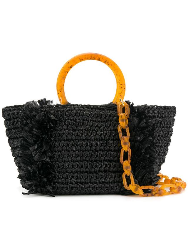 embroidered top-handle tote