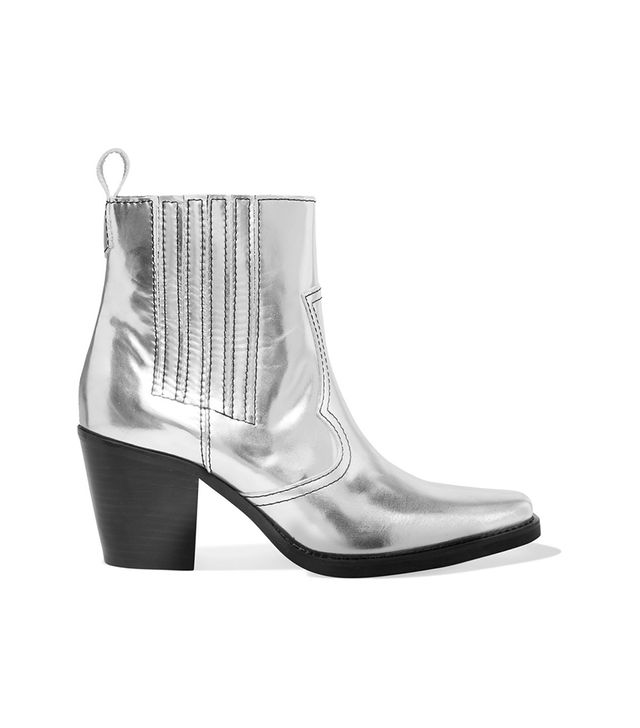 Callie Metallic Leather Ankle Boots
