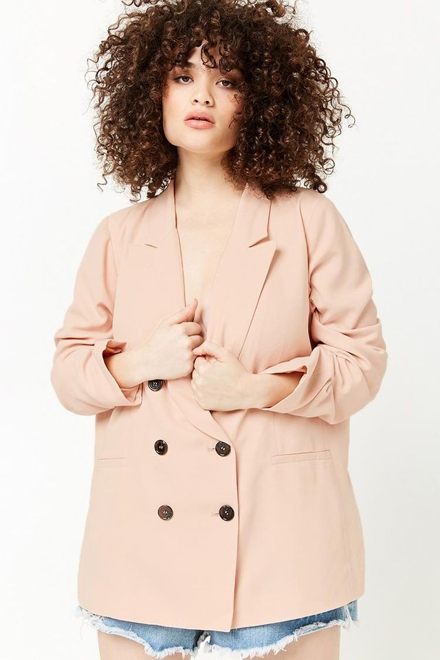 Plus Size Double-Breasted Blazer
