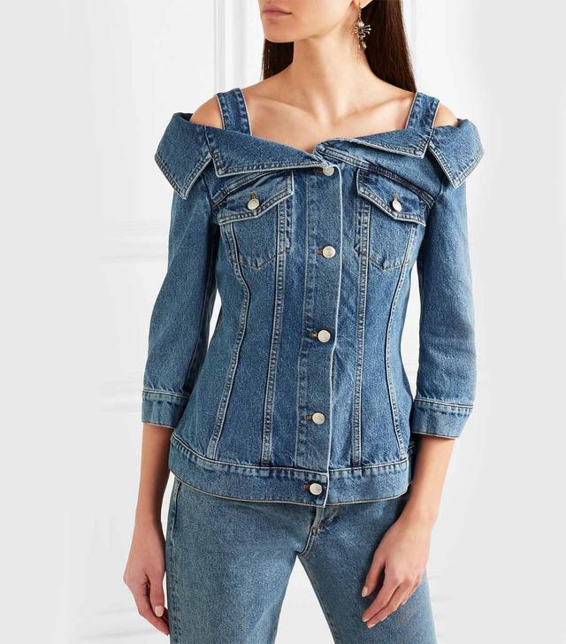 Cold-shoulder Denim Jacket