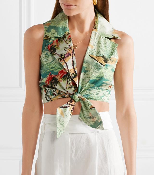 Jill Tie-Front Printed Cotton-Poplin Top