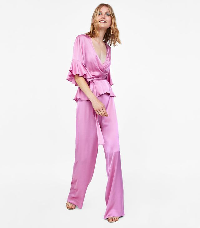 Zara Satin Crossover Blouse