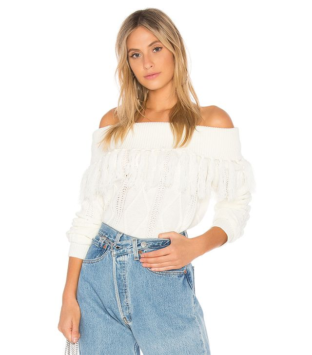 Fringe Sweater in White. - size M (also in L)