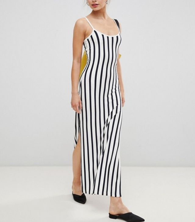 Striped Maxi Dress With Strappy Back