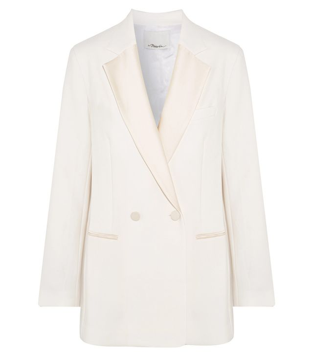 Double-breasted Satin-trimmed Crepe Blazer