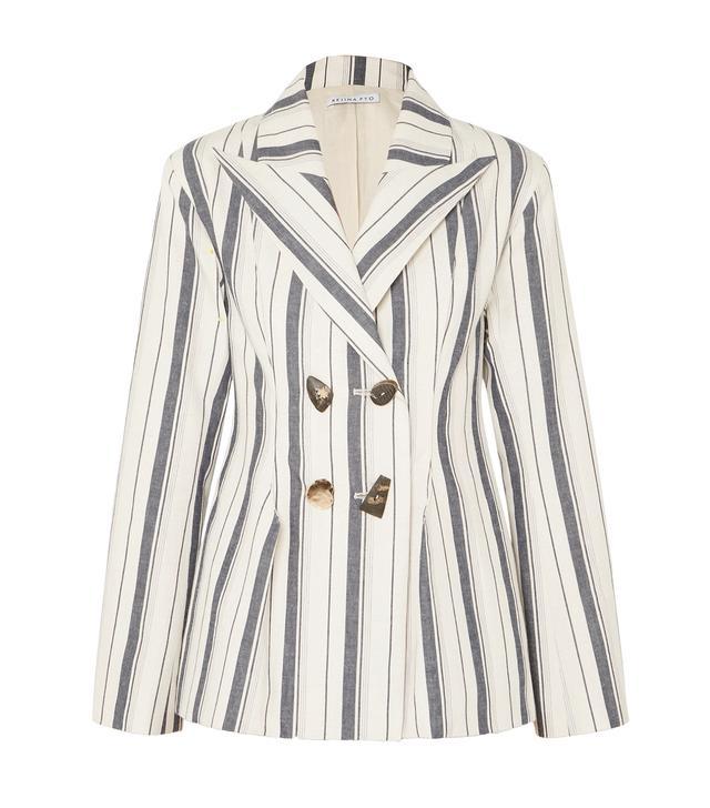 Nicole Double-breasted Striped Cotton-chambray Blazer