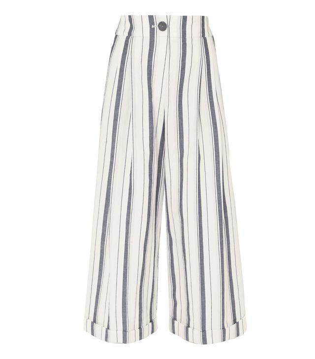 Dylan Cropped Striped Wide-leg Cotton-chambray Pants