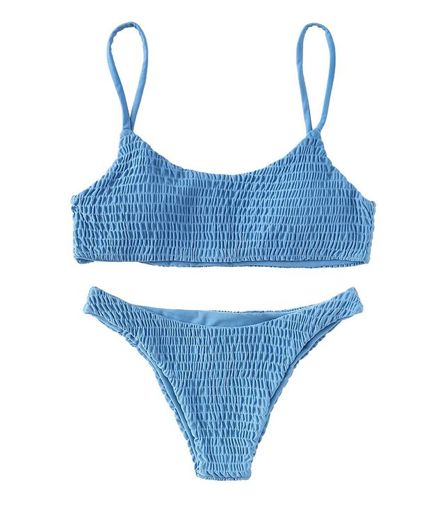 Solyhux Two Piece Solid Color Shirred Bikini Set Swimsuit