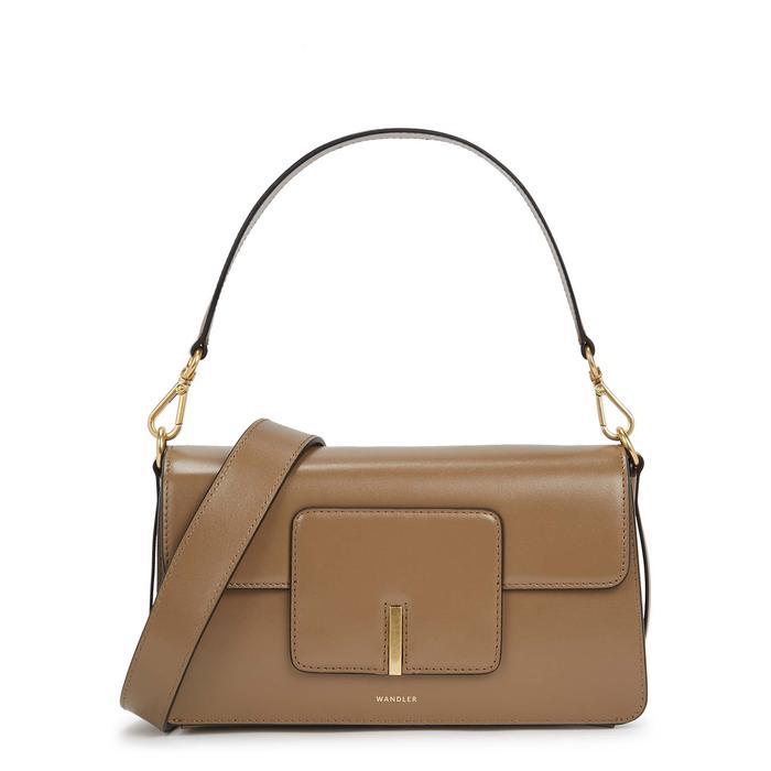 Wandler Georgia Taupe Leather Top Handle Bag