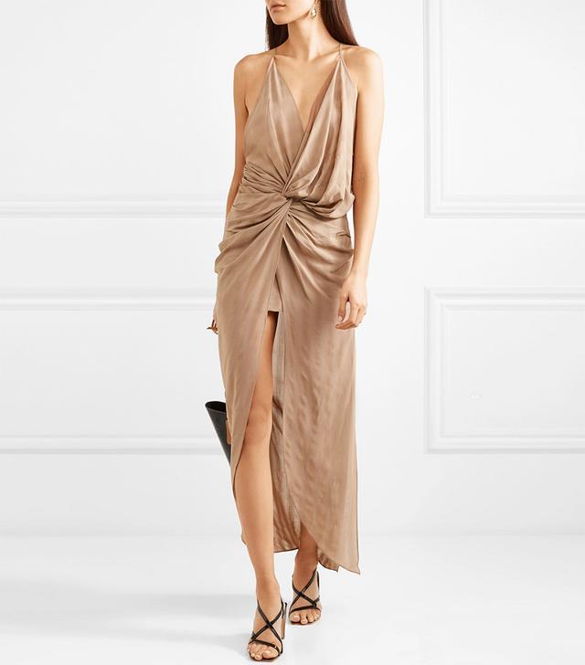 Bayamo Twist-front Striped Gauze Midi Dress