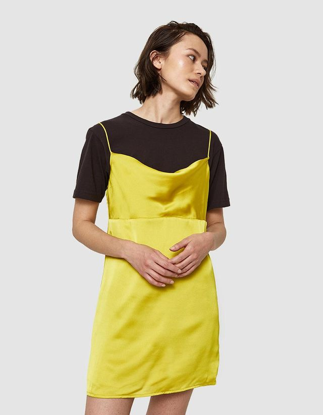 Tia Dress in Chartreuse