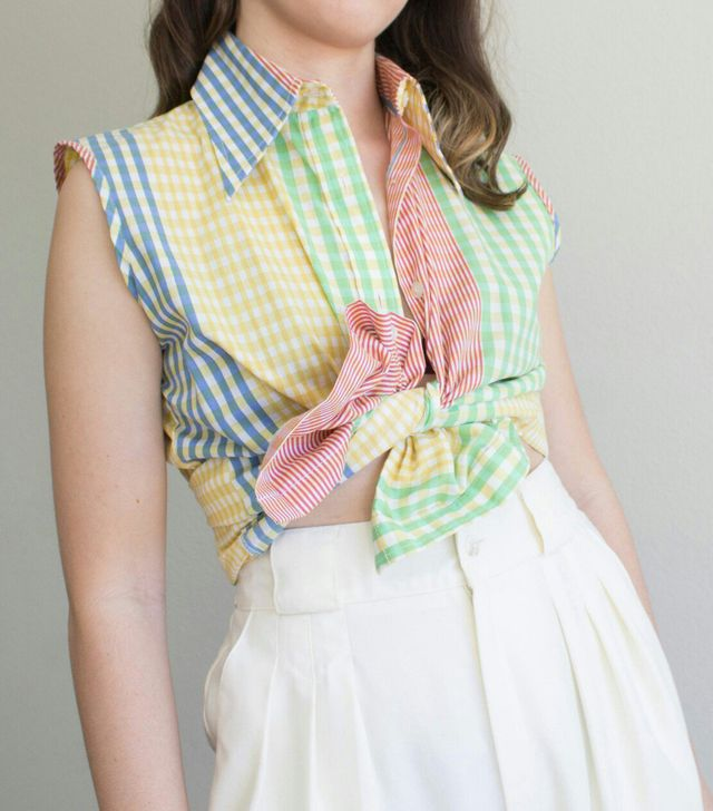 Dirtbug Color Blocked Gingham Top