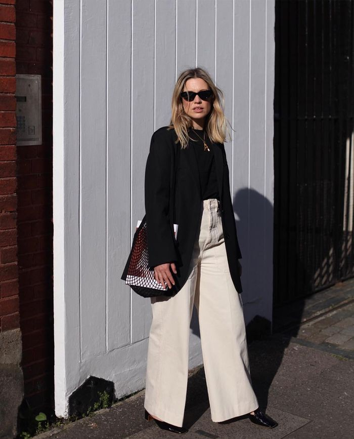Off-Duty Style: White Wide-Leg Jeans With a Black Blazer