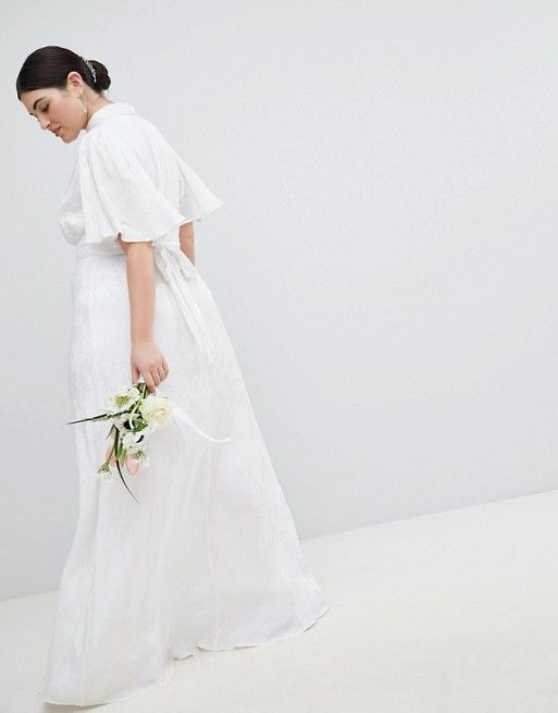ASOS EDITION Bandeau Wedding Maxi Dress in Floral Lace