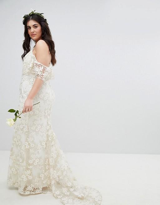 ASOS EDITION Curve Floral Lace Bandeau Maxi Wedding Dress