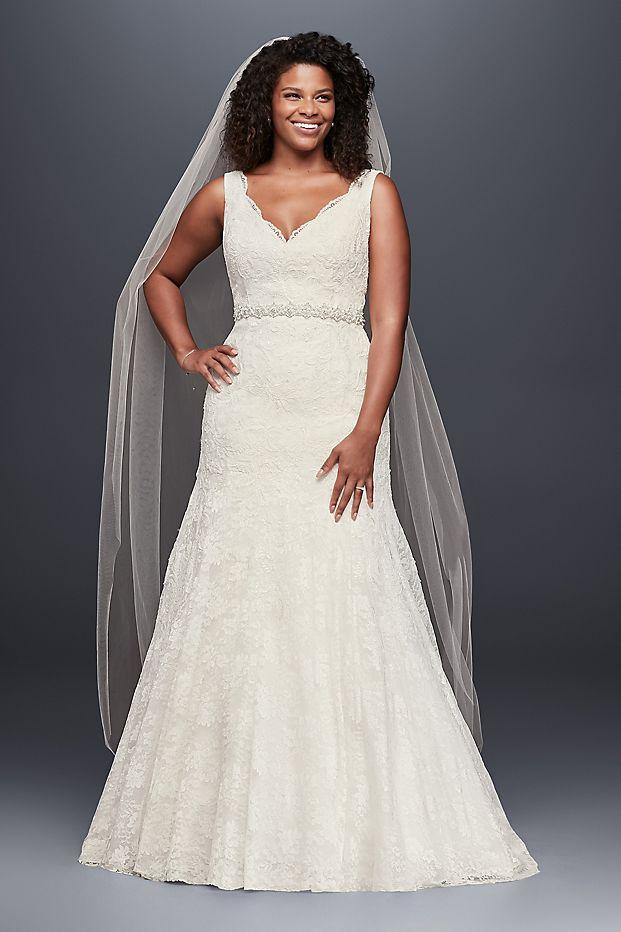 David's Bridal Jewel Scalloped Mermaid Wedding Dress