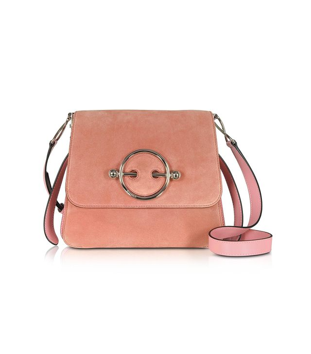 Women's Disc Suede & Leather Shoulder Bag