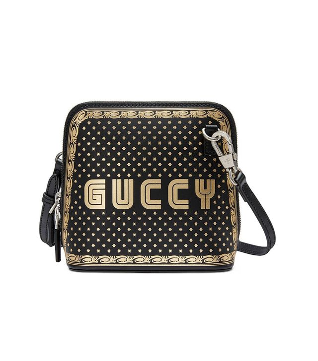 Guccy Logo Moon & Stars Leather Crossbody Bag - Pink