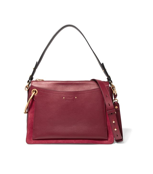 Roy Medium Leather And Suede Shoulder Bag