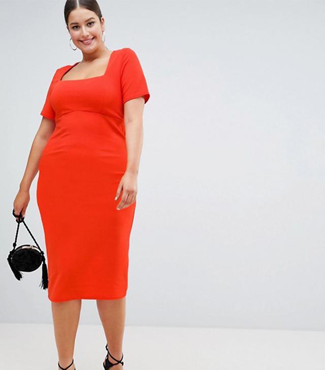 ASOS DESIGN Curve square neck bodycon midi dress