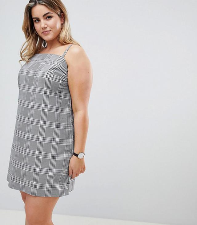 ASOS DESIGN Curve Mini Check Square Neck Cami Dress