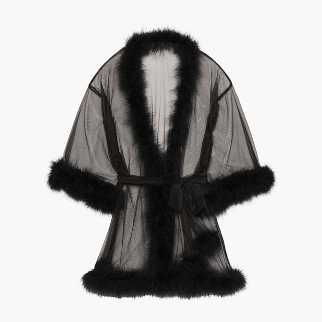 Savage x Fenty Sheer Marabou Shirt Robe