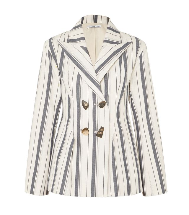 Nicole Double-breasted Striped Cotton-chambray Blazer