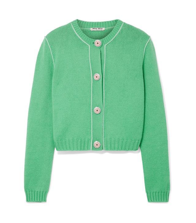 Cropped Embellished Cashmere Cardigan
