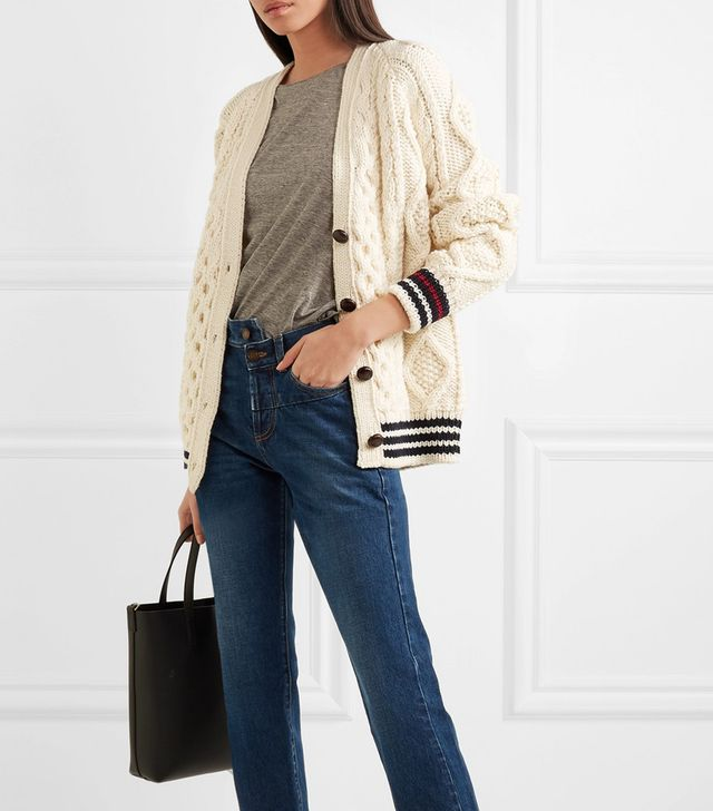 Striped Cable-knit Wool Cardigan