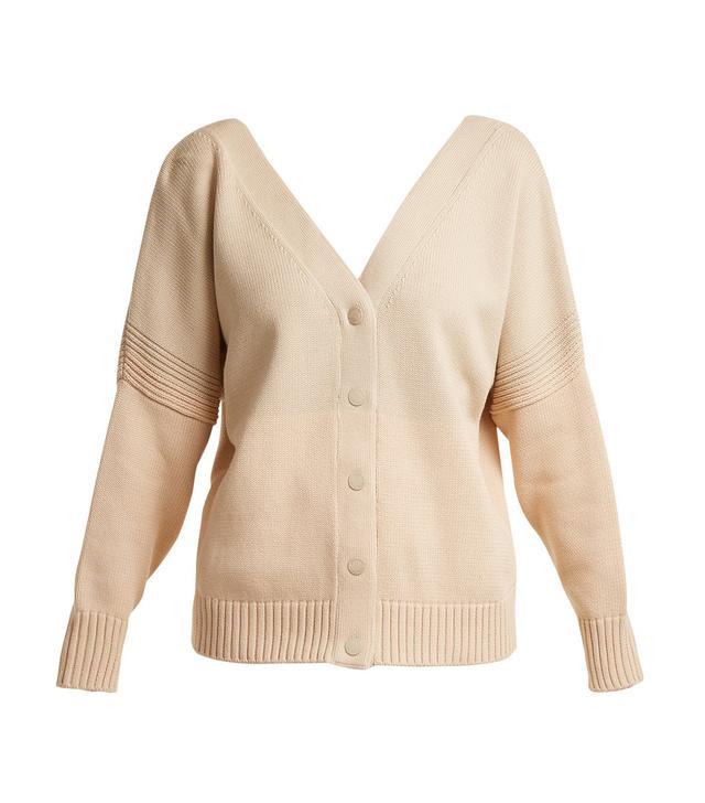 V-neck tri-colour cotton-knit cardigan