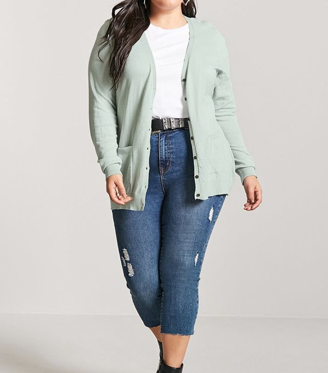 Forever 21 Slub Knit Button-Front Cardigan