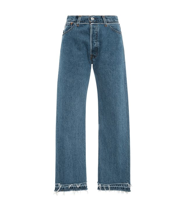 Stove Pipe Released Hem Mid Rise Straight Leg Jean
