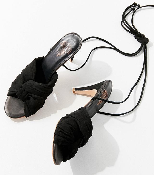 Charlotte Stone Melle Black Ankle Wrap Heels