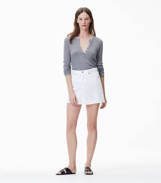 Citizens of Humanity Cut Off Mini Skirt in Distressed White