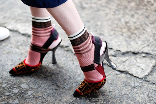 WHO: Candice Lake STYLE TIP: This shoe/sock combo proves that sometimes more is more. Bonus points for those coordinating Fendi logos.