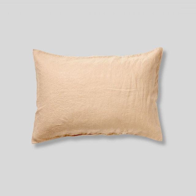 In bed 100% Linen Pillowslip set in Biscuit (set of 2)