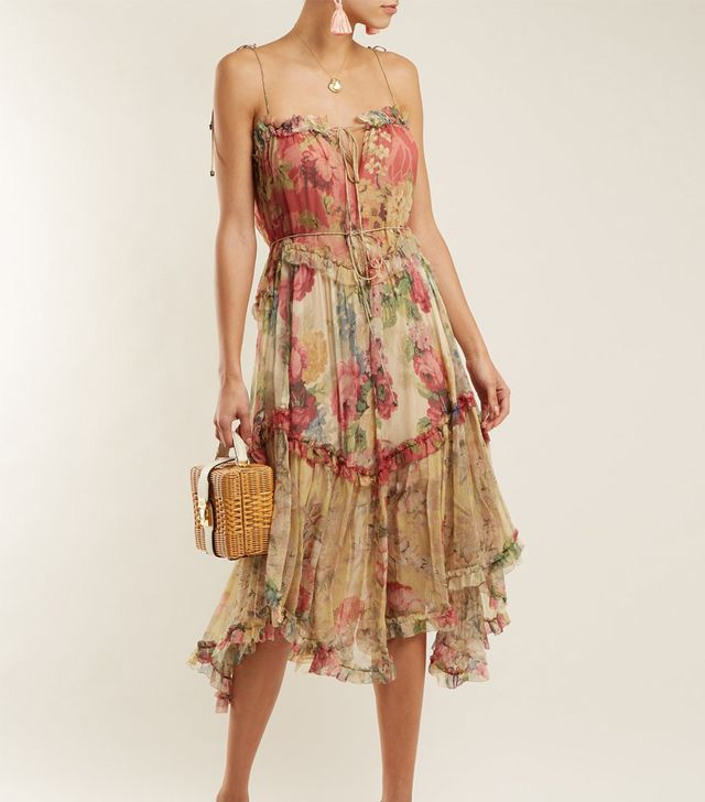 Melody Floating floral-print silk dress
