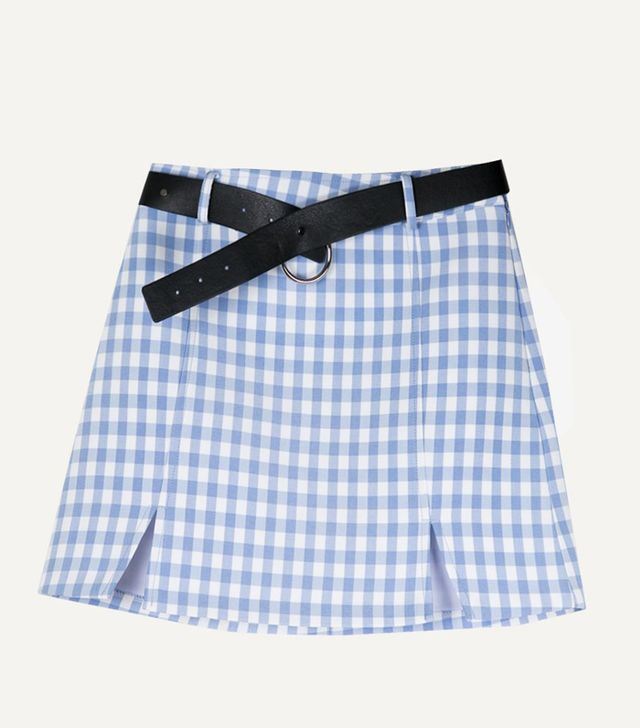 The Frankie Shop Gingham Light Blue Miniskirt