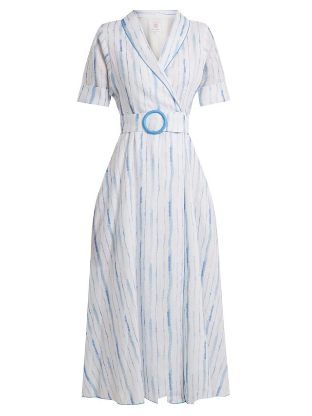 Shawl-collar striped linen dress
