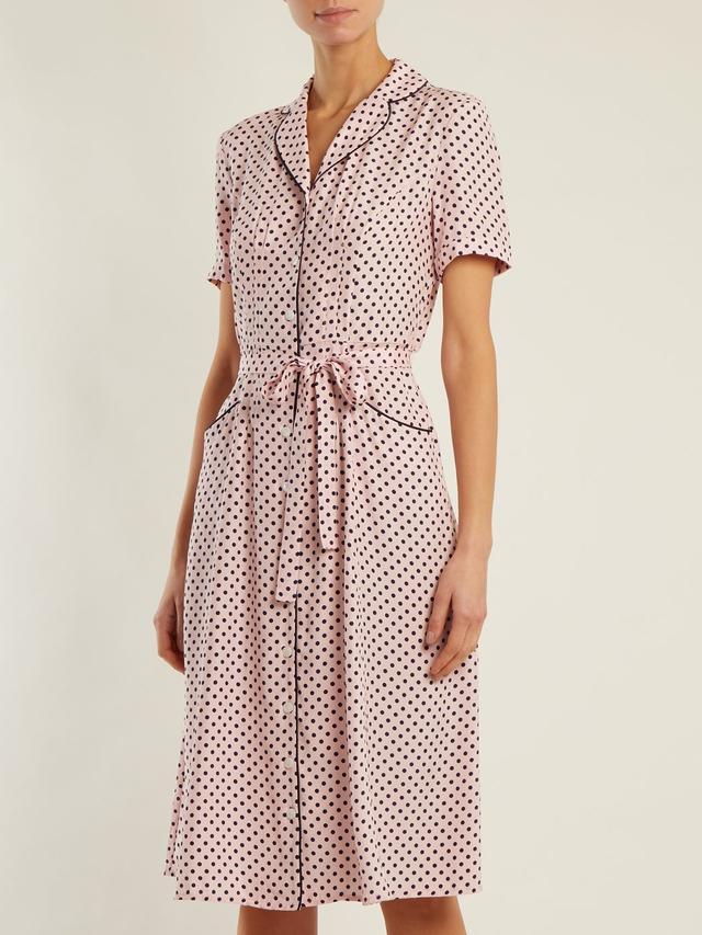 Maria polka-dot print silk dress
