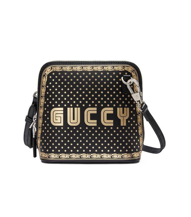 Guccy Logo Moon & Stars Leather Crossbody Bag - Pink