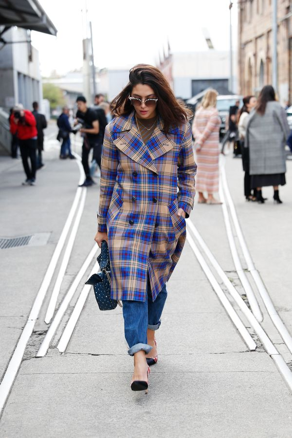 STYLE TIP: A checked duster gets a chic update when chosen in a popping colour, like this blue.