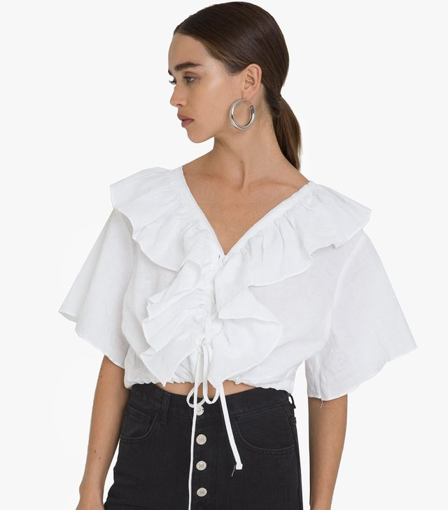 Pixie Market Linen Frill Lace Up Tie Top