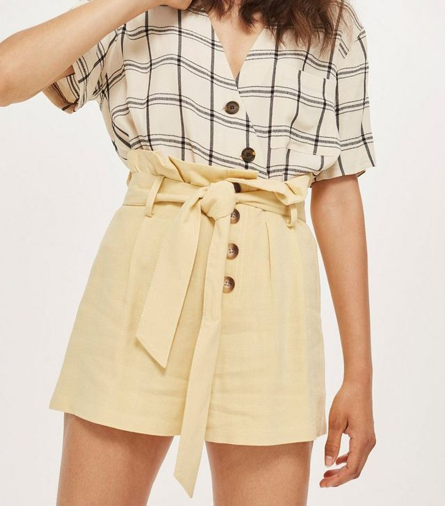 Topshop Linen Button Paper Bag Shorts