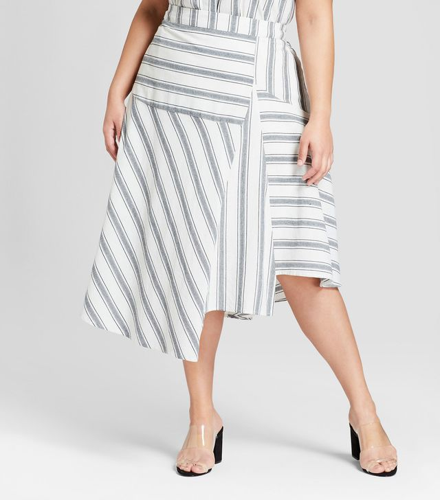 Plus Size Striped Flowy Asymmetric Midi Skirt